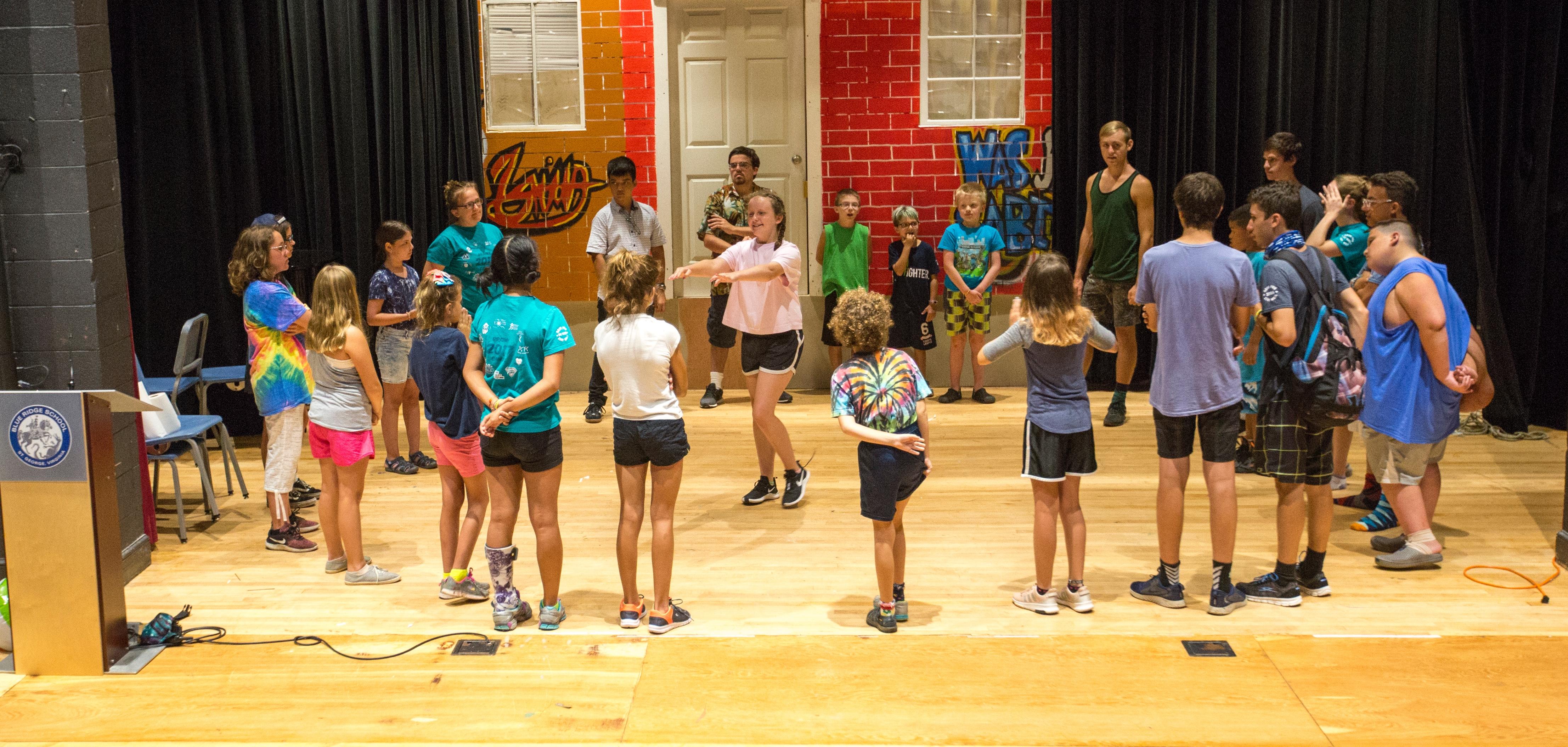 Children participate in theater.