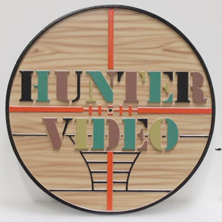 VP-1503 - Carved 2.5-Multi-Level Relief HDU Plaque of the Logo of the Hunter Video Store