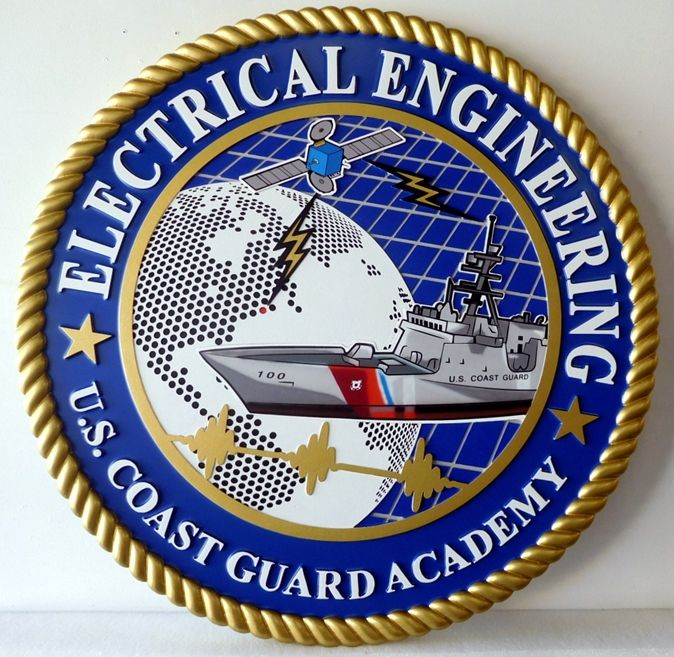 RP-1884 - Carved Wall Plaque of  the Seal of Electrical Engineering,  Coast Guard Academy, Artist Painted