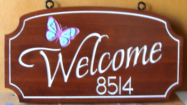 I18230- Elegant Engraved Stained Redwood Welcome Address Sign with Butterfly