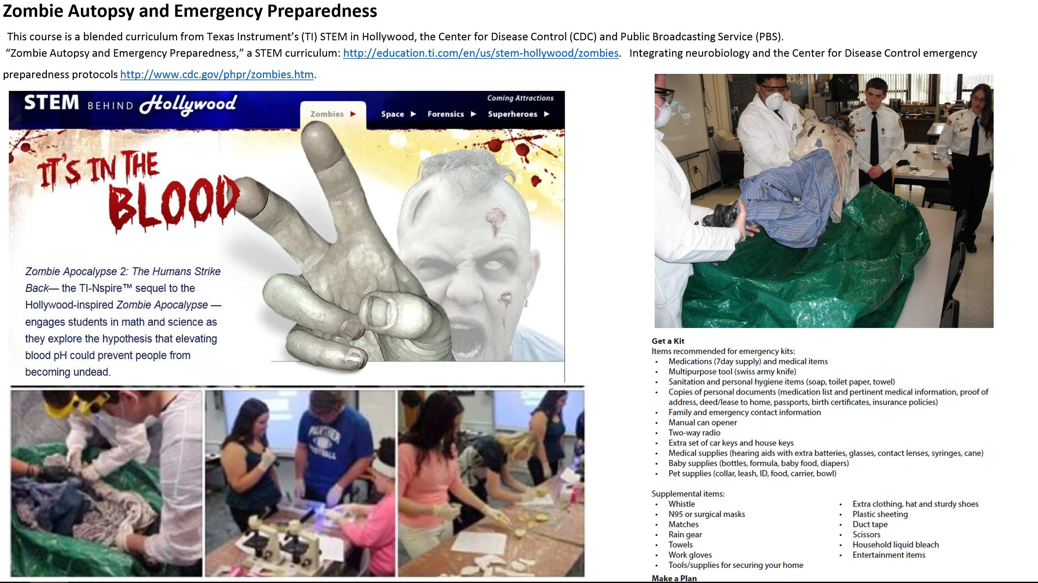Zombie Autopsy and Emergency Preparedness