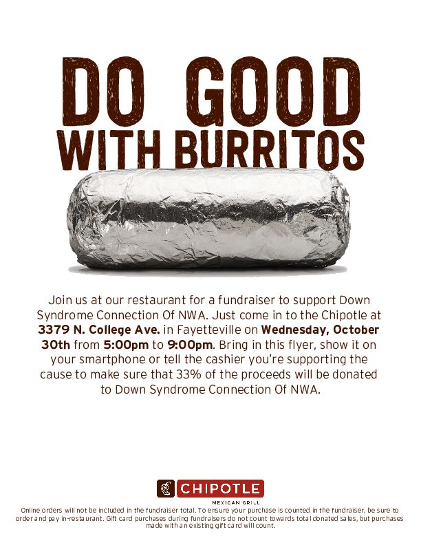 Dine Out for Down Syndrome Chipolte Fayetteville