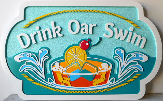 "L21721 - Custom Residence Name Sign ""Drink Oar Swim """