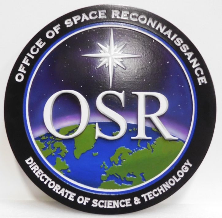 AP-3186 - Carved Plaque of the Seal of the Office of Space Reconnaissance (OSR) , 2.5-D Artist-Painted