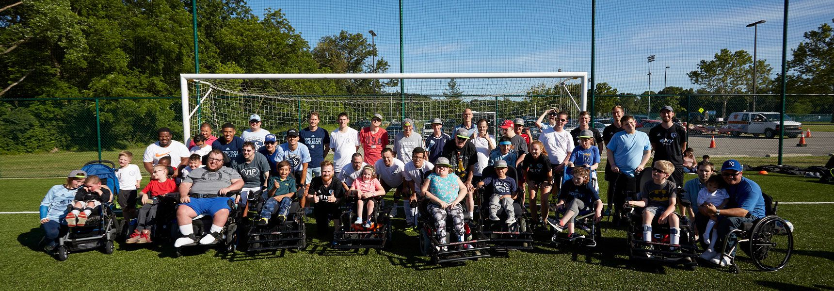 Group of children with disabilities at the Sporting KC Soccer for All Abilities Clinic