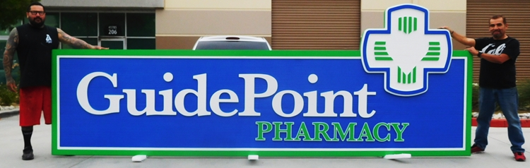"S28004 - Large Carved and Sandblasted HDU Commercial Sign made for the ""Guide Point Pharmacy"" , 2.5-D Artist-Painted"