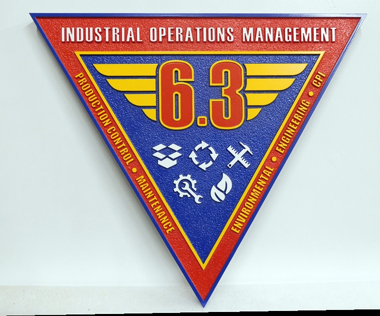 V31420 - Carved and Sandblasted Wall Plaque of the Crest  of  the USMC Industrial Operations Management Center
