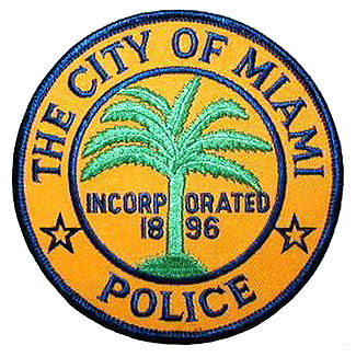 X33430 - Carved Wood Wall Plaque of Miami Police Dept Seal