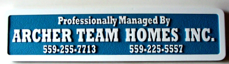 """SA28611 - Sandblasted HDU Sign for House General Contractor, """"Archer Team Homes, Inc."""""""