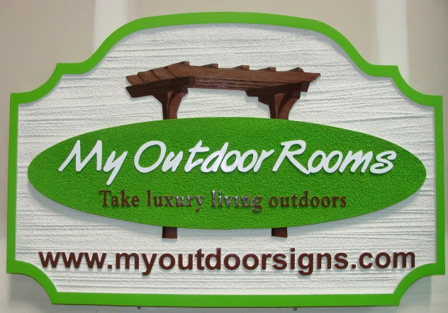 """SA28686 - Signs for """"My Outdoor Rooms"""" with Pergola as Artwork"""