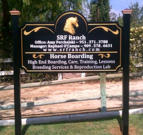 P25004 - Carved Wood Equine Ranch Sign, with Two Posts and Golden Horse Head