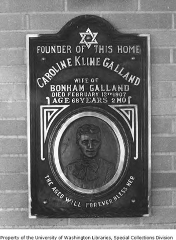 Memorial plaque for Caroline Kline Galland, between 1914 and 1976