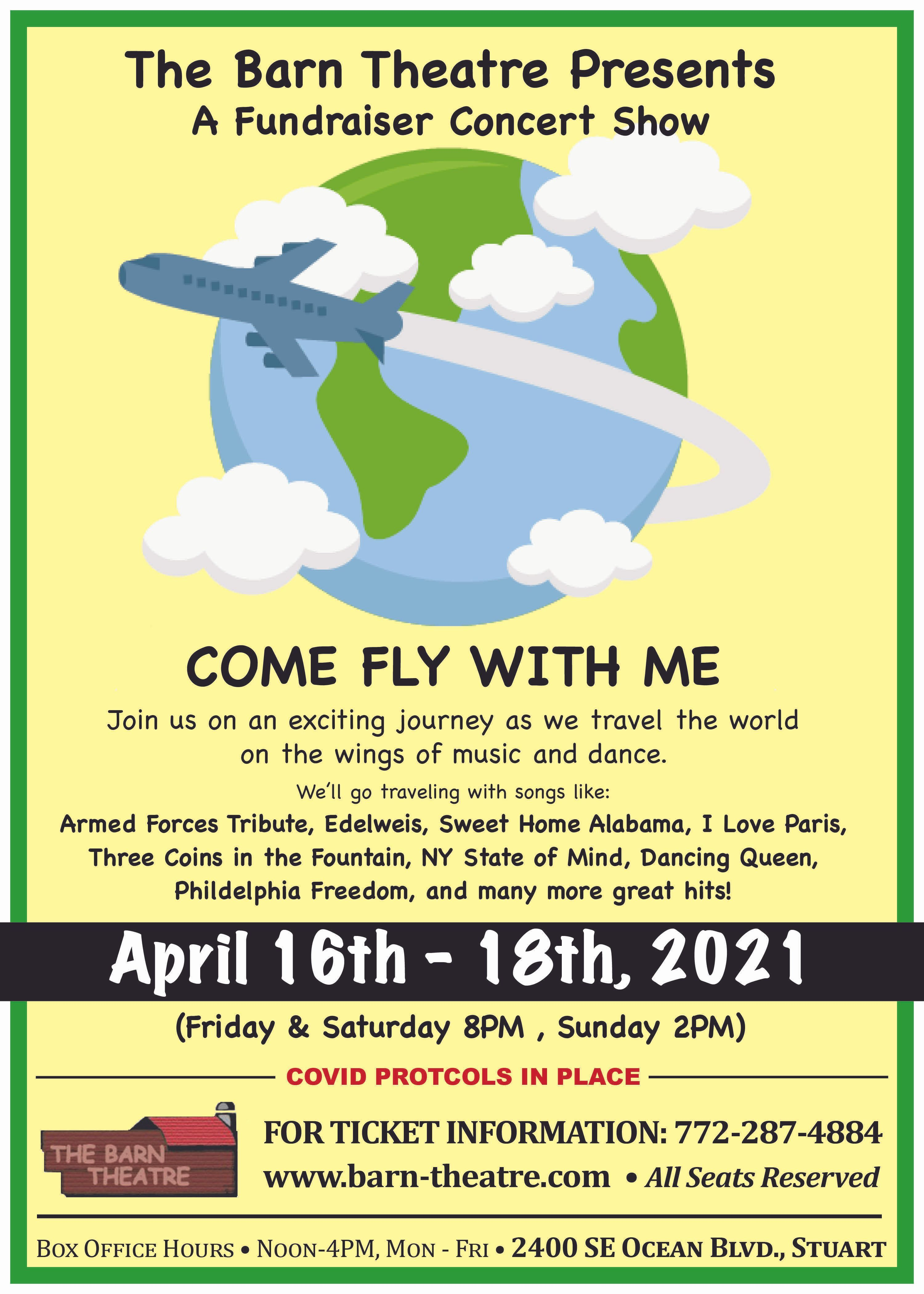 "THE BARN THEATRE PRESENTS A FUNDRAISER CONCERT ""COME FLY WITH ME"""