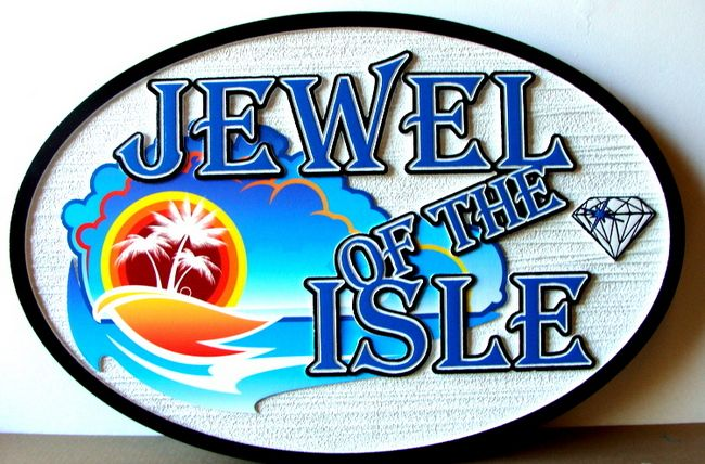 """SA28013 -Sign for Jewelry Store """"Jewel of the Isle""""  with Carved Diamond, Sun, Island and Palm Tree"""