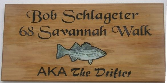 "M3803 - Rustic Carved Cedar Name and Address Sign, ""AKA The Drifter,"" Carved Bass Fish (Gallery 20)"