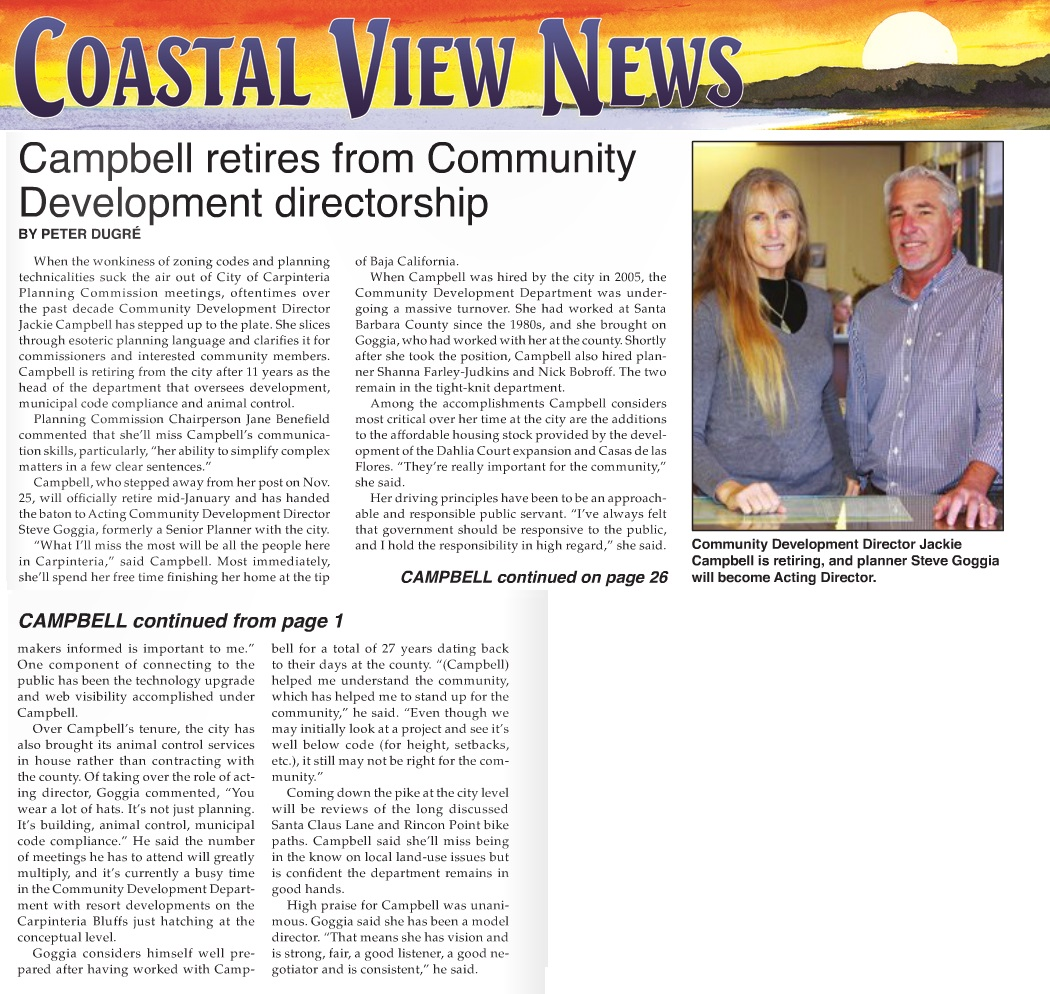 Campbell Retires from Community Development Directorship- Coastal View News