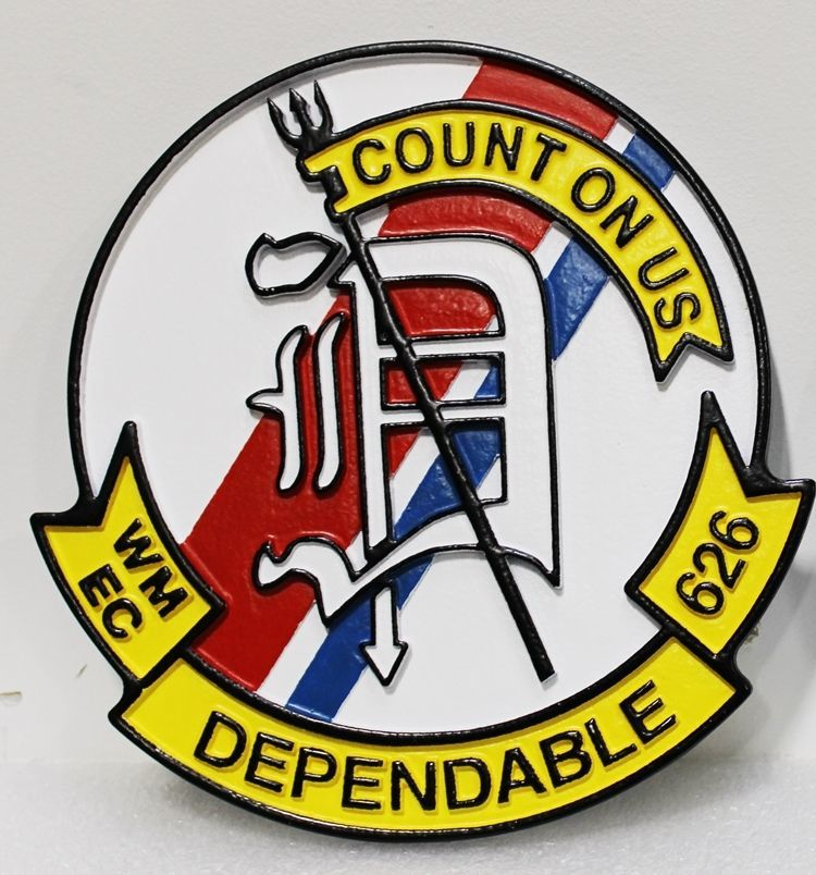 NP-2122 - Carved 2-5 D HDU Plaque of the Emblem of the US Coast Guard Cutter Dependable, WMEC-626
