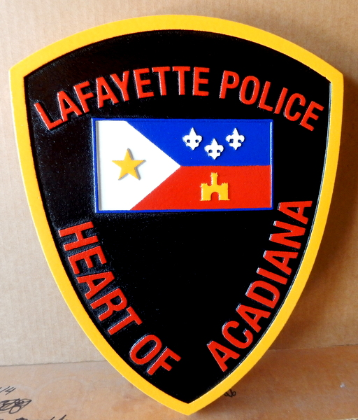 X33417 - Carved 2.5-D Wall Plaque of Badge of The Police Department of Lafayette, Louisiana