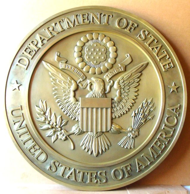 U30175 - Carved 3-D  Brass Metal Coated  Wall Plaque for the US Department of State