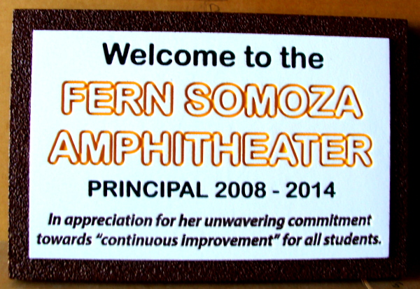 "FA15678 - Engraved ""Fern Somoza Amphitheater""  Sign"