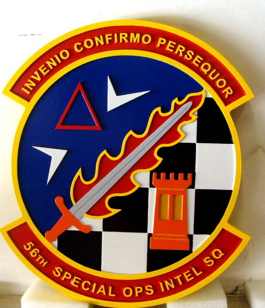 """LP-3880 - Carved Round Plaque of the Crest of the 56th Special Operations Intelligence Squadron, """"Invenio confirmo persequor"""", Artist Painted"""