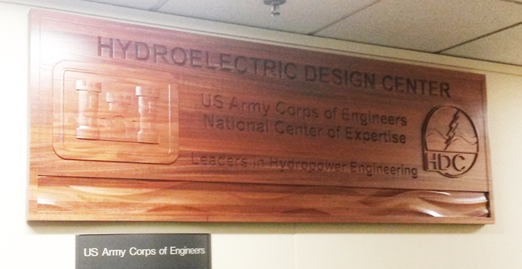 MP-2820 - Large Carved Wall Panel for  the US Army Corps of Engineers (USACE) Hydroelectric Design Center, Portland District,  Mahogany Wood