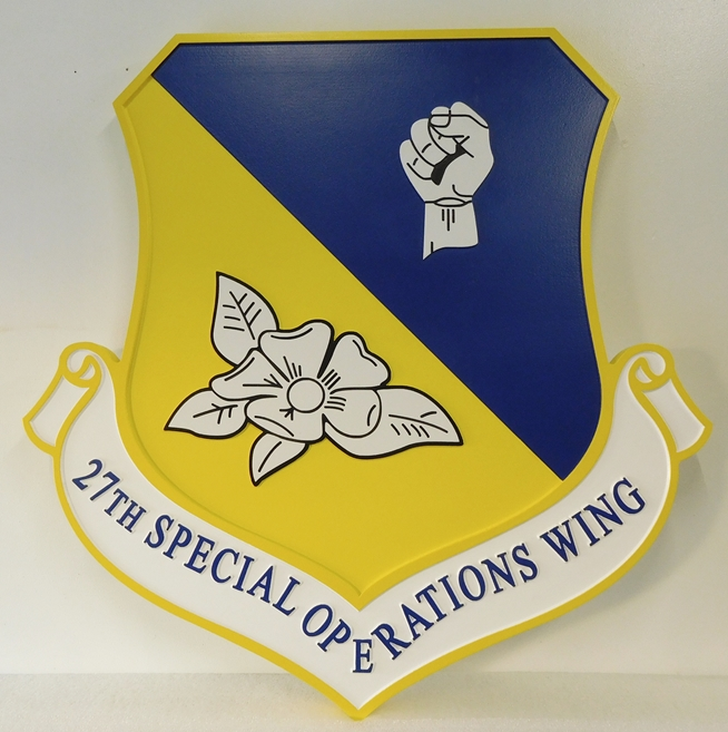 LP-3620 - Carved Shield Plaque of the Crest of the 27th Special Operations Wing, Artist Painted