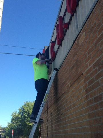 The sign is coming down!  Thanks Brad!