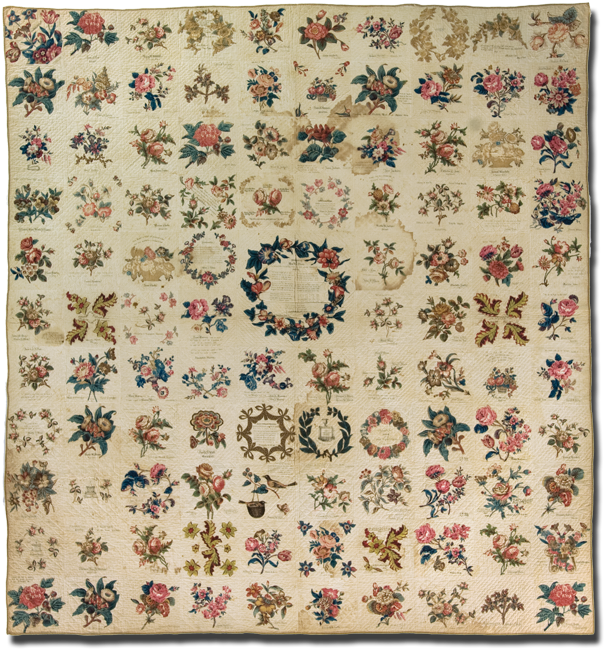 Album, Made by members of the Evangelical Sewing Society of First Baptist Church, Philadelphia, Pennsylvania, United States, Dated 1846, 91 x 84 in, IQSC 2008.040.0004