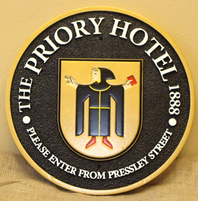 "SA28522 -  ""The Priory Hotel""  Carved HDU Sign , with Monk Logo as Artwork"