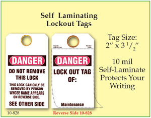 Self Laminating Lockout Tag