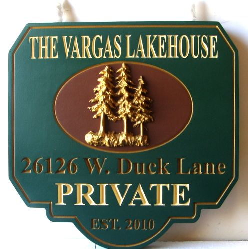 "M22054 - Engraved Wood ""Vargas"" Lakehouse Property Sign, with 3-D Carved Fir Trees and Gold Metallic Paint"