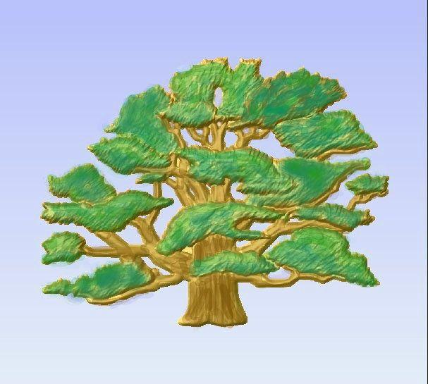 M2986 - Carved Oak Tree, Painted Enamels (Gallery 21)