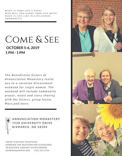 Come & See Vocation Weekend for Women - Oct. 5-6