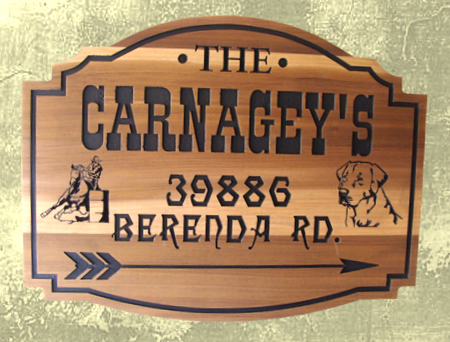 O24318 - Engraved Cedar Ranch Sign with Barrel Racer and Dog