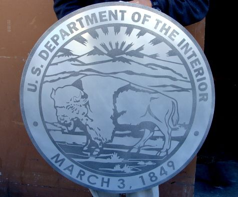 M7550 - Sandblasted Aluminum Wall Plaque of the Seal of the Department of the Interior