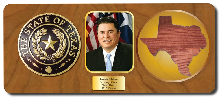 BP-1522 - Plaque for Texas Secretary of State, Wood with Giclee Appliques