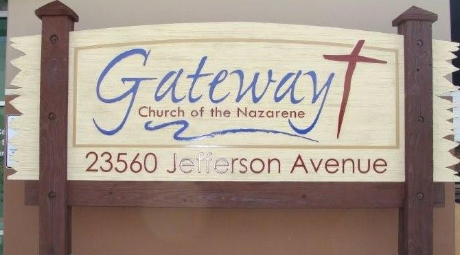 D13051 - Large Carved Cedar Wood Sign on Cedar Posts for Church of the Nazarene, Emblem of Cross