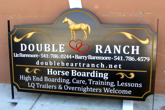 "O24212 - 3-D Carved HDU Sign for ""Double Heart Ranch"", with Gold Horse in Profile"
