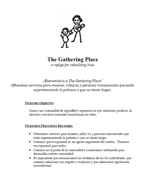 Guía en Español: Bienvenida/o a The Gathering Place