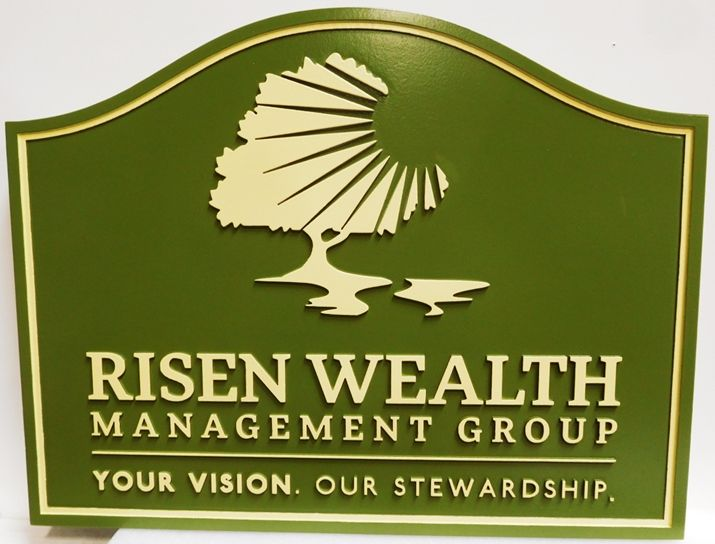 C12101- Carved  Sign for Wealth Management Group, 2.5-D Relief with Raised Text and Border