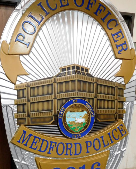 X33686 - Close-up Photo of Large Wall Plaque of Police Badge for Medford, Oregon