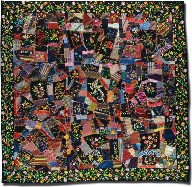 Crazy quilt, maker unknown, possibly made in Bucks County, Pennsylvania, United States, circa 1880-1900, 80 x 79 in, IQSCM 1997.007.0764