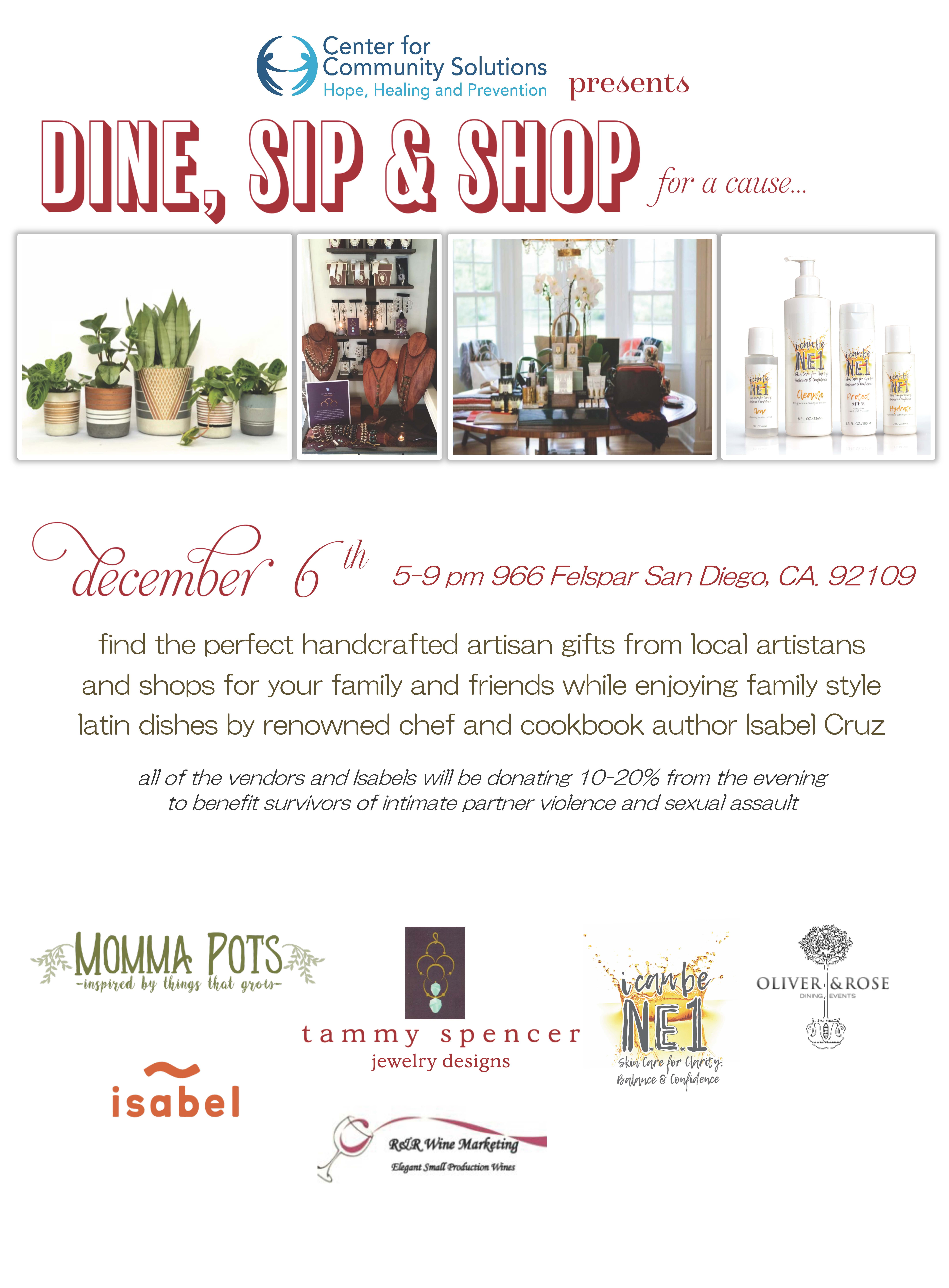 Dine, Sip & Shop for a Cause