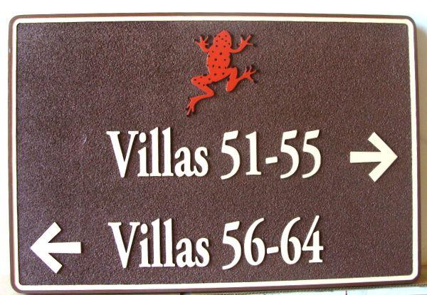 KA20855 - Sandblasted HDU Wayfinding Sign for Villa Unit Numbers