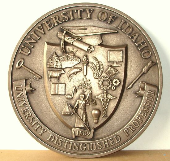 RP-1050  - Carved Wall  Plaque of  the Seal of the University of Idaho, Distinguished Professor of the Year,  Brass Plated