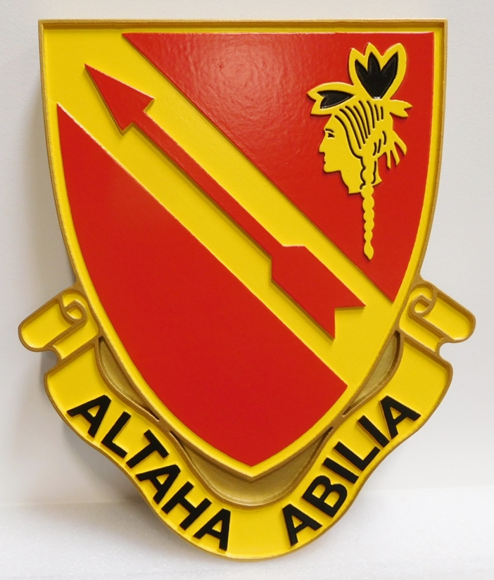 "MP-2069 - Carved Plaque of Crest of US Army 291st Regiment  Unit with Slogan ""Altaha Abilia"", or ""Always Ready"", Artist Painted"