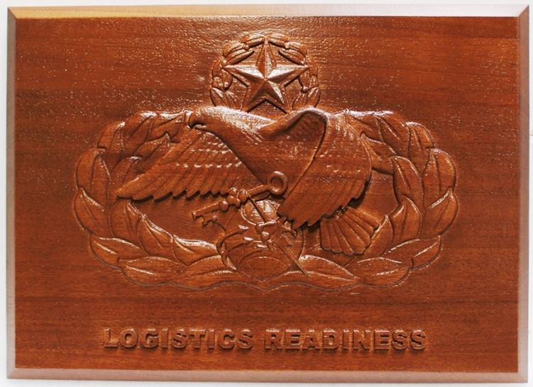 """M3928 - Carved Mahogany 3D Plaque withthe slogan """"Logistics Readiness,  for a Unit of the US Army (Gallery 31),"""