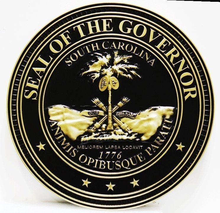 W32444 - Carved 3-D Brass-Plated Plaque of theSeal of the Governor of the State ofSouth Carolina