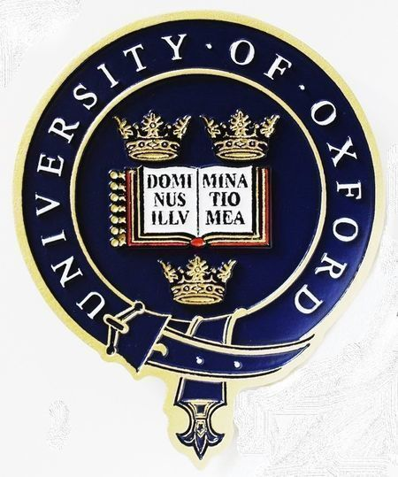X34463 - Carved 2.5-D HDU Plaque of the Seal of the University of Oxford